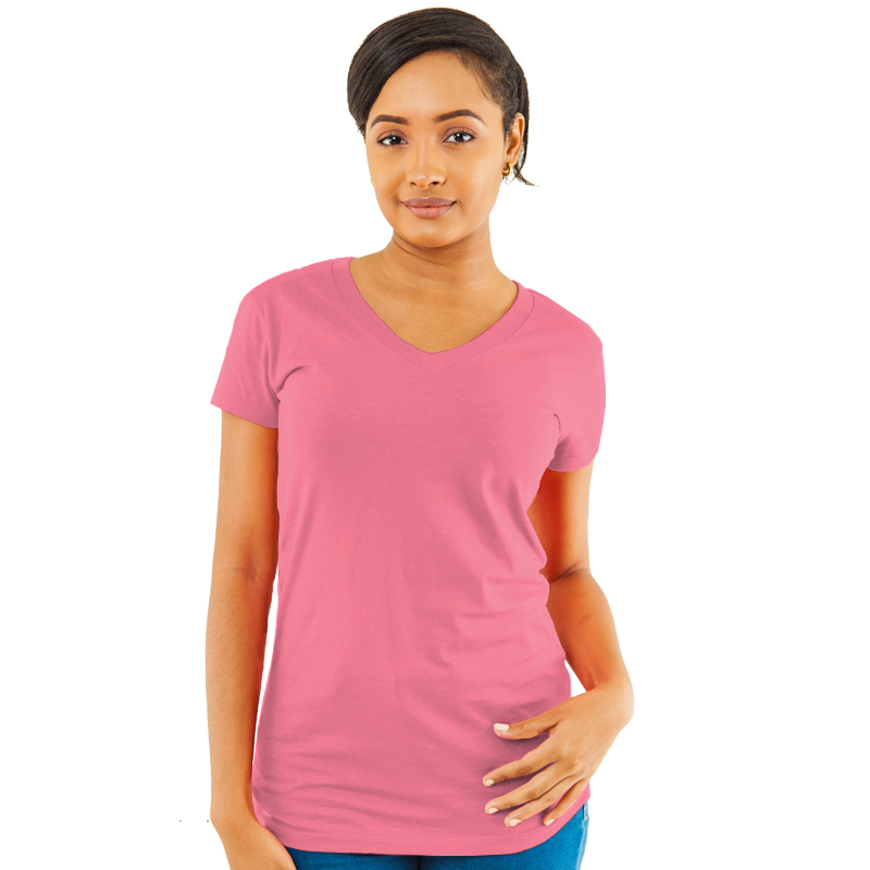 84bec5be2213 Ladies V-Neck Slim Fit Tee- Heathered Fabric-Sun Island Jamaica