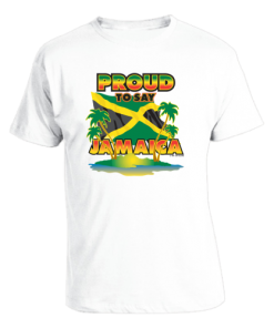 Men's 'Proud to Say Jamaica' Printed White Cotton Tee