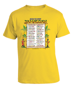Men's 'How Fe Chat Jamaican' Yellow T-shirt.
