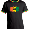 Men's 'Lion Of Judah' Black Reggae Trim Tee