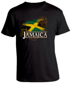 Men's 'Jamaica' Black Printed Cotton Tee