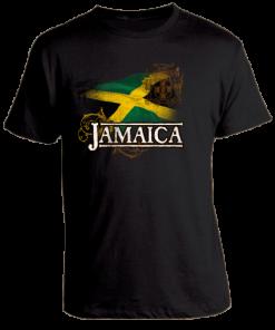 Men's 'Jamaica' Black Printed Cotton Tee