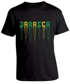 Men's 'Jamaica' Printed Black Slim Fit Tee
