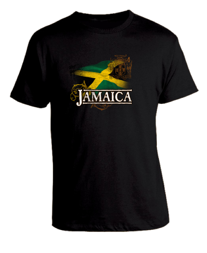 Kid's Black 'Jamaica' Printed Cotton Tee