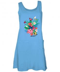 sky blue ladies printed tank dress