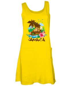 yellow printed tank dress