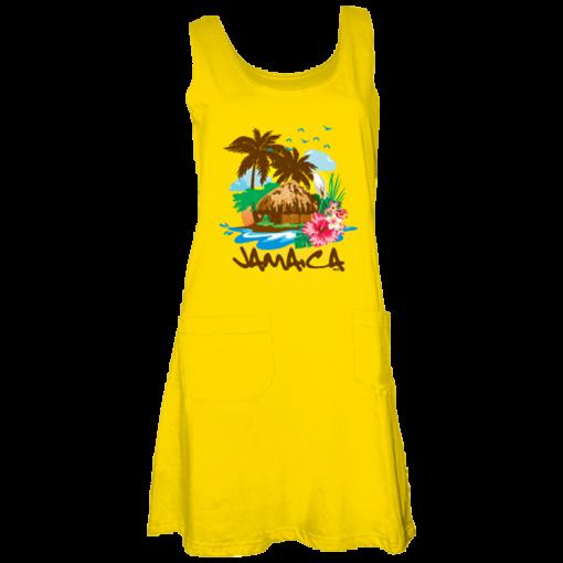 yellow printed tank dress
