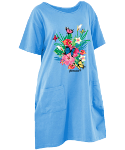 sky blue printed maxi t dress