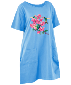 sky blue printed maxi-t dress