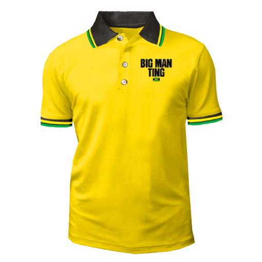 Mens' Yellow Embroidered Golf Shirt.