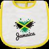 yellow and white infant bib