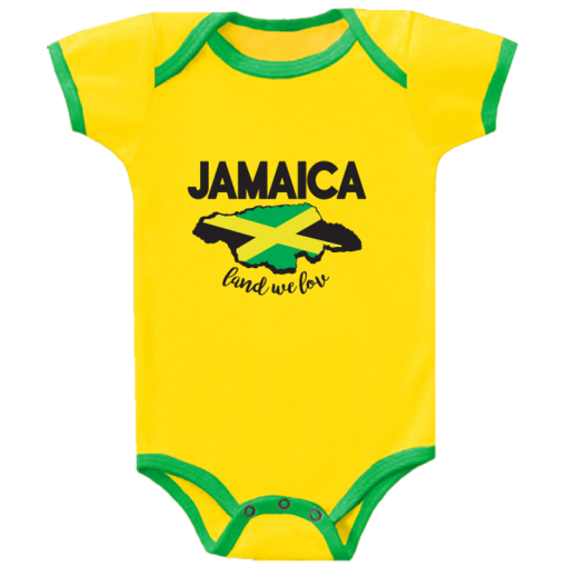yellow body with green trim baby romper
