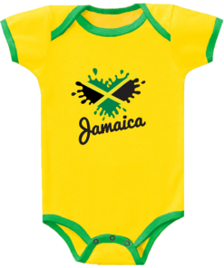 yellow baby romper with green trim