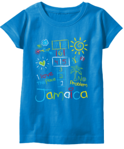 girls printed turquoise t-shirt