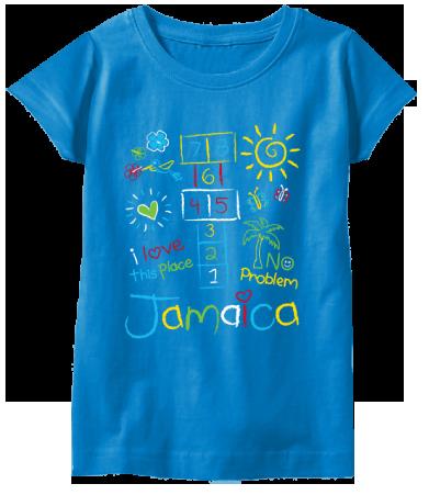 girls printed turquoise t-shirt