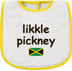 Yellow and white printed infant bib